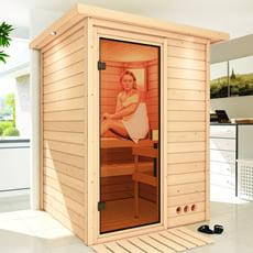 Sauna finlandese Gioia in massello 38 mm con porta in vetro bronzato e cornice a led
