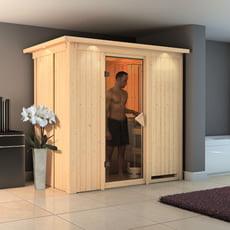 Sauna finlandese coibentata 68 mm Variado con porta in vetro bronzato e cornice a led