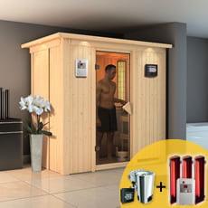Sauna finlandese multifunzione Variado con stufa COMBO-BIO 3,6 kW e riscaldatori infrarossi