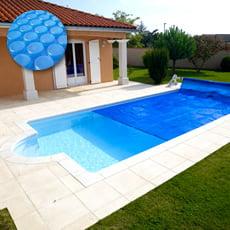 Copertura estiva a bolle su misura per piscina rettangolare scala romana piscine italia - Accessori per piscine interrate ...