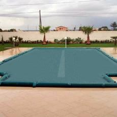 Copertura invernale a fascia filtrante centrale con asole per tubolari per piscina rettangolare + scala romana