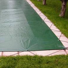 Copertura invernale con occhielli e cavo elastico per piscina rettangolare