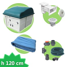 Kit impianto piscina rettangolare h. 120 DELUXE + Liner