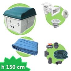 Kit impianto piscina rettangolare h. 150 DELUXE + Liner