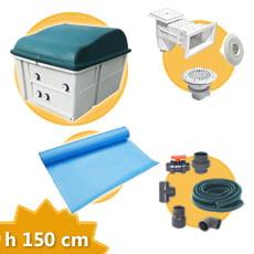 Kit impianto piscina rettangolare h. 150 DELUXE + Membrana