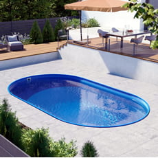 Piscina interrata in kit in acciaio ovale NEWSKYBLUE Comfort 700 - h. 120 cm
