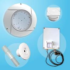 Kit 1 proiettore LED bianco con trasformatore da avvitare su bocchetta