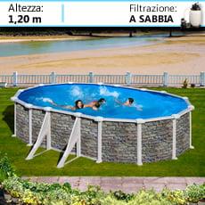 Piscineitalia piscine fuoriterra in acciaio ovali con effetto pietra - Piscine fuori terra rivestite in pietra prezzi ...