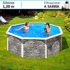 Piscineitalia piscine fuoriterra in acciaio circolari con effetto pietra - Piscine fuori terra rivestite in pietra prezzi ...