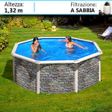 Piscine fuori terra in acciaio circolari con effetto pietra piscine italia - Piscine fuori terra rivestite in pietra prezzi ...