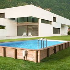Piscineitalia piscine hors sol en bois rectangulaire for Piscine bois 10x5