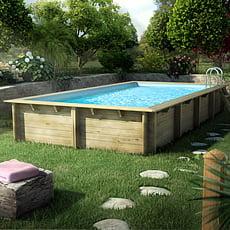 Piscina in legno fuori terra rettangolare jardin carre 6x4 piscine italia - Piscine rettangolari fuori terra ...