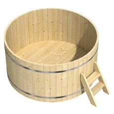 Vasca da bagno a botte in legno massello - Tinozza da bagno ...